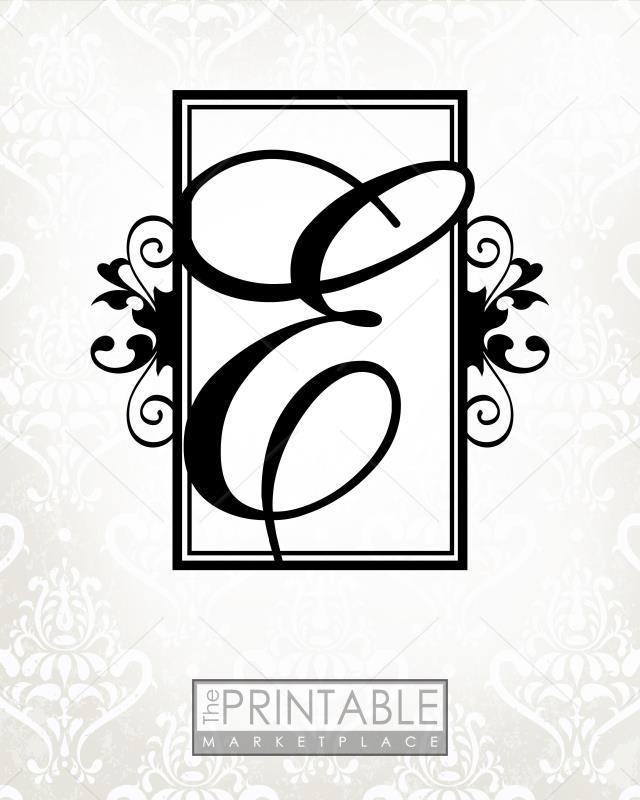 Embellished Gray Monogram E